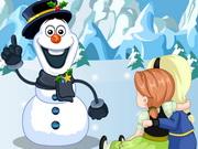 アンナとエルザ雪だるまを構築