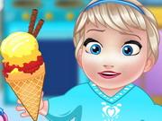 ベビーエルザは、ホームメイドアイスクリームを調理します