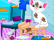 Play Baby Elsa Kitten Room Cleaning
