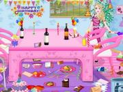バービーの誕生日パーティールームクリーニング