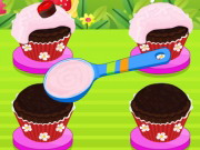 チョコレートチェリーカップケーキ