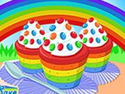 レインボーカップケーキを調理