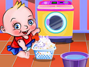 Play Cute Baby Washing Clothes