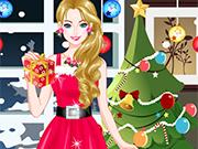 クリスマスの日のためにドレスアップ