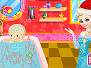 Play Elsa Bathing Baby Santa
