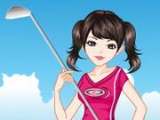 ゴルフの女の子がドレスアップ