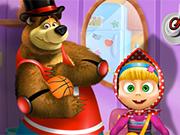マーシャと熊ドレスアップ
