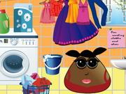 ポウガール洗濯服と靴