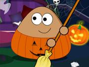 Play Pou Halloween Cleanup
