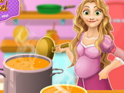 Pregnant Rapunzel Cooking Chicken Soup
