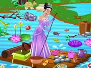 プリンセスティアナ池のクリーニング