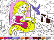 Play Rapunzel In The Tower Coloring