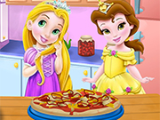 Baby Rapunzel and Baby Belle Cooking Pizza